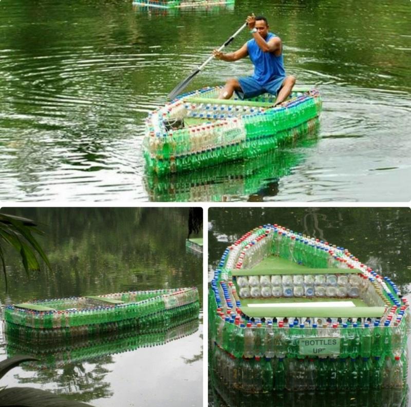 Обустройство: Лодка из бутылок