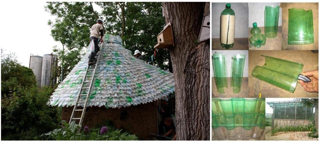 Обустройство: Крыша из бутылок