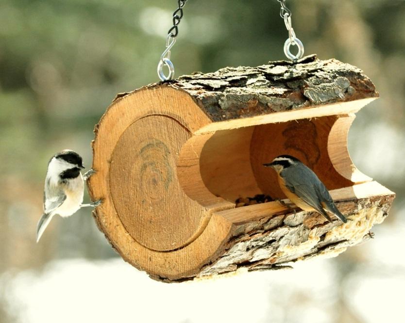 Обустройство: Кормушка для птиц из бревна