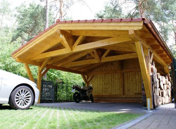 Обустройство: Навес для машины из дерева