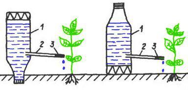 Техника и инструменты для дачи: Капельный полив из пластиковых бутылок